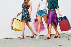Legs with color bags Stock Photos