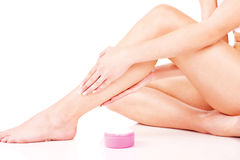 Legs cosmetic treatment Royalty Free Stock Image