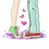 Legs of couple in love. Hand drawn illustration with legs of couple in love vector illustration