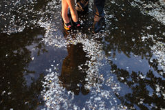 Legs  of couple standing near the water. Legs of couple standing near the water with petals Royalty Free Stock Photos