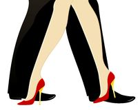 Legs dance. Beautiful womanish and masculine legs dance Royalty Free Stock Photos