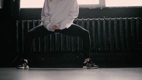 Legs dance hip hop in the studio. The action in slow motion stock video