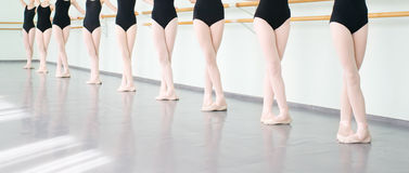 Legs of dancers ballerinas in class classical dance, ballet royalty free stock photography