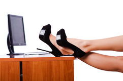 Legs on the desk Stock Photos