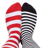 Legs in different striped socks. Isolated on white background Stock Image