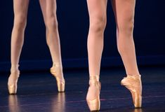 Legs of duo of ballerinas on pointe Royalty Free Stock Images
