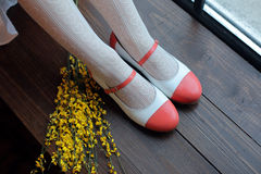 Legs in elegant shoes. Legs in elegant red shoes Stock Image