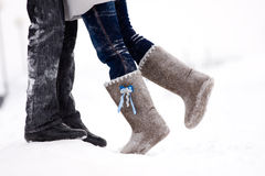 Legs embracing couples Royalty Free Stock Photo