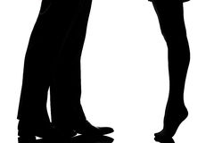 Legs feet couple lovers tenderness Stock Photography