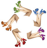 Legs and feet of a woman with colored shoes in circle Royalty Free Stock Images