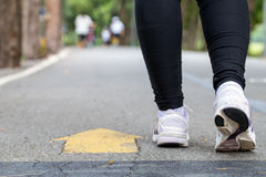Legs and feet woman jogging Royalty Free Stock Photos