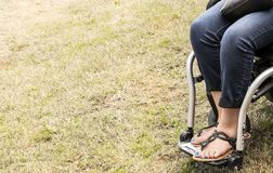 Legs and feet of woman in wheelchair with blue painted toenails and sandals and bluejeans and a black leather purse cropped at edg. E of image with grass on the stock photo
