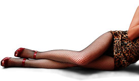 Legs in fishnets isolated Stock Photos