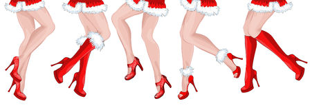 Legs of five dancing girls Santa Claus Stock Photography