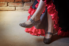 Legs of the Flamenco dancer closeup Royalty Free Stock Photo