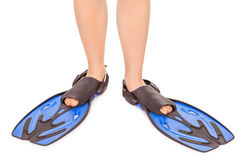 Legs in flippers isolated on white Royalty Free Stock Image
