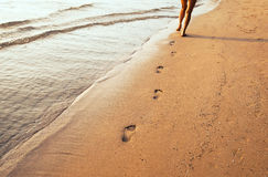 Legs and footprints royalty free stock photo