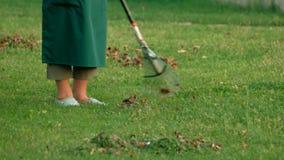 Legs of gardener and rake. stock footage
