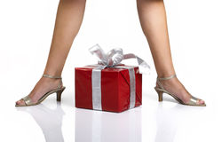 Legs and Gifts Royalty Free Stock Photography