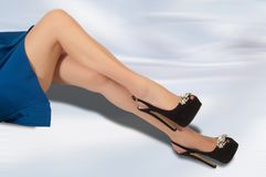 legs girl. beautiful legs in stockings royalty free stock photo