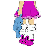 Legs girl in pink slippers. Lonely girl in pink bunny slippers standing water in one hand holding a rabbit Royalty Free Stock Images