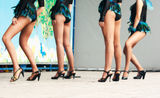 Legs of girls dancers. On stage stock images