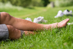Legs in grass Stock Photos