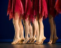 Legs of a group of ballerinas in red skirts. In front of a dark blue curtain Stock Images