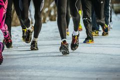 Legs group of runners stock image