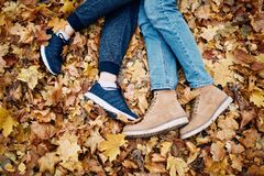 Legs of a guy and a girl resting in the park stock images