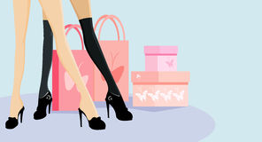 Legs and handbags. Vector image of women legs and handbags Royalty Free Stock Image