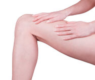 Legs and hands. Beautyful woman legs on a white background Stock Image