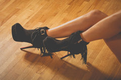 Legs in high heel shoes Stock Images