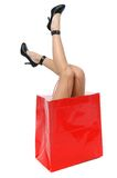 Legs with high heels in a shop stock image