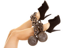 Legs high heels up chained Royalty Free Stock Photography