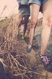 Legs of hikers Royalty Free Stock Photography