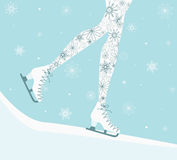 Legs in Ice skates. Stock Photo