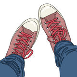 Legs with jeans in gumshoes. Vector illustration. EPS Stock Photography