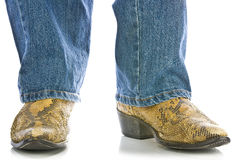 Legs in Jeans and snakeskin Cowboys Boots Stock Photos