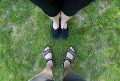 Legs on the lawn. stock photos