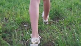 Legs little girl walking on grass stock footage