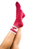 legs long female in striped socks isolated Royalty Free Stock Images