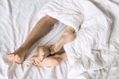 Legs of lovers under blanket. Barefoot legs of lovers under the white blanket on the bed. Indoors. Closeup. Horizontal Royalty Free Stock Photos