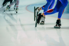 Legs male skaters during warm-up Royalty Free Stock Photos