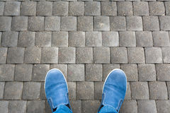 Legs of man in shoes Stock Images