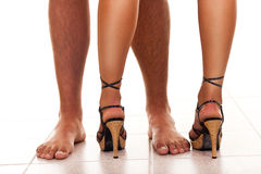 Legs of man and woman Stock Photos