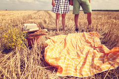 Legs of man and woman in the fields Stock Photography