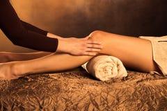 Legs massage. Technique in spa Stock Image