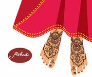 Legs with mehendi patterns. Royalty Free Stock Image
