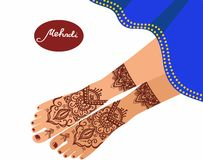 Legs with mehendi patterns. Vector illustration for a yoga studio Stock Image
